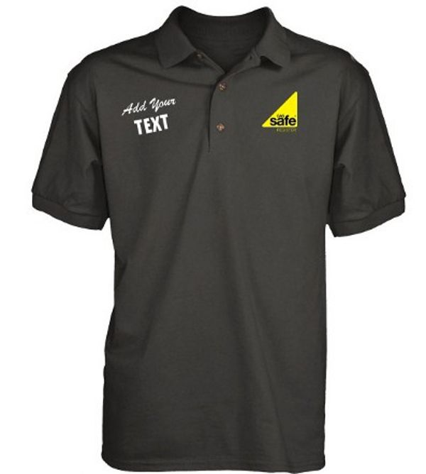 Embroidered gas safe polo shirt with logo and text for Safety t shirt logos