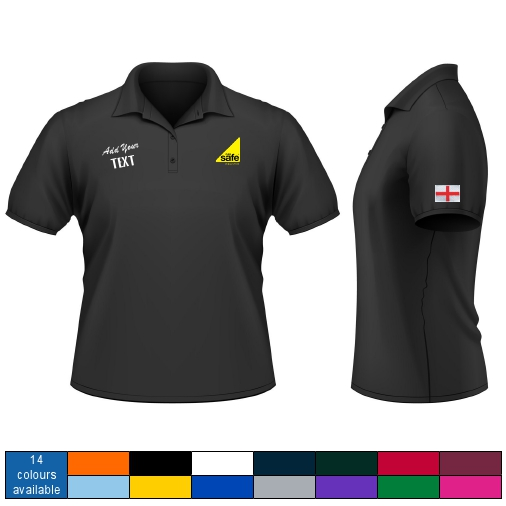 Embroidered gas safe polo shirt with logo text and flag for Union made polo shirts