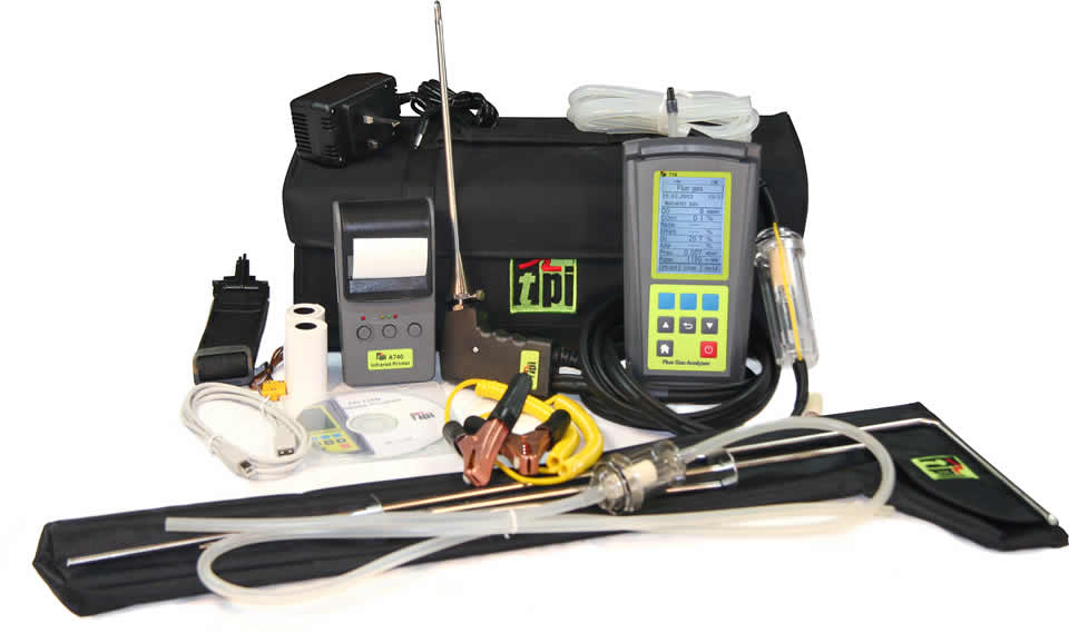 Tpi Test Instruments : Tpi flue gas analyser cpa kit with pipe clamps