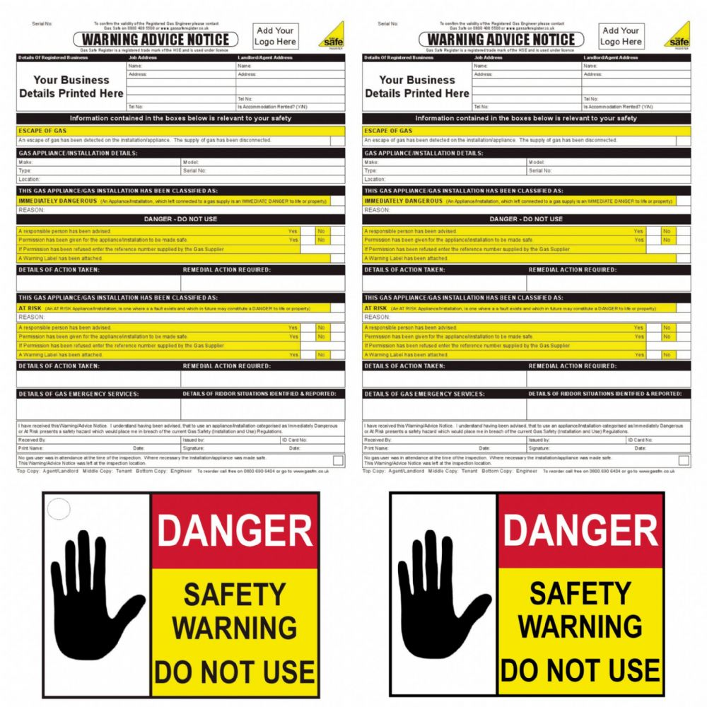 10 Gas Safe DANGER DO NOT USE labels unsafe situations AND Warning notice pad
